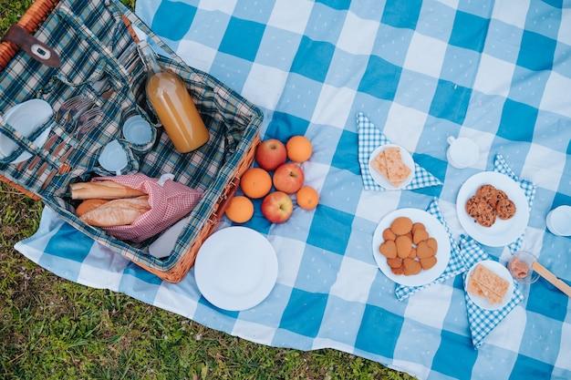 健康的な食事と市松模様のテーブルクロスでピクニックを準備する