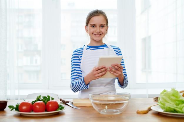 Preparing appetizing salad for relatives