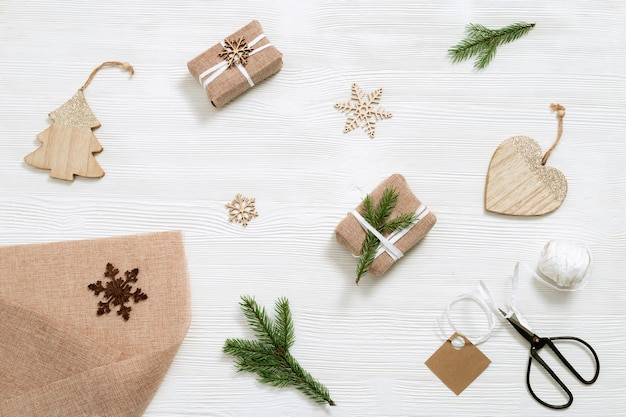 Preparing handmade christmas gift and present  with love for christmas and new year