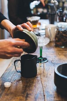 Preparing japanese matcha green tea