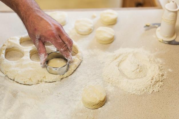 Preparazione del concetto di pressatura della pasta della focaccina al latte