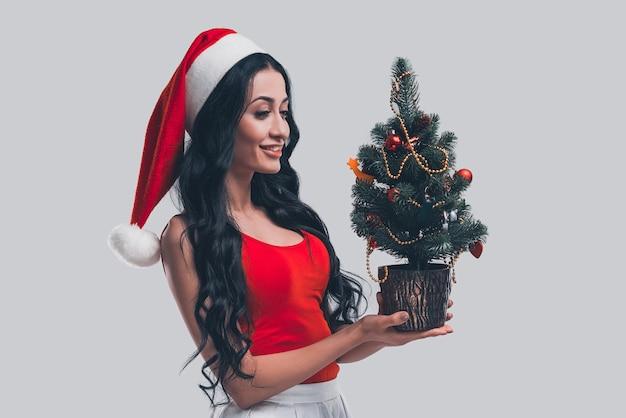 クリスマスの準備。小さなクリスマスツリーを保持し、灰色の背景の前に立っている間笑顔でそれを見てサンタ帽子の魅力的な若い女性