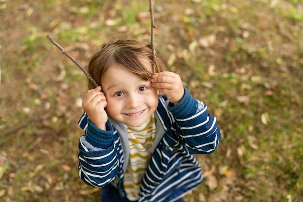 幼稚園の男の子は木の棒で秋の森で遊んでいます。屋外の公園で剥き出しのジャケットを着ているsmilyng面白い幼児の少年の肖像画。子供との週末。