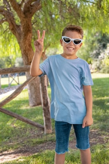 Preschooler boy shows victory sign in a park