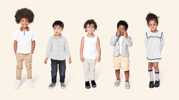 Preschoolers in casual outfits full body