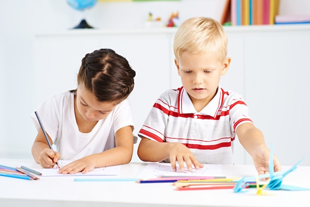 Preschoolers in class