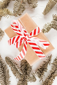 Present box in brown wrap between coniferous branches