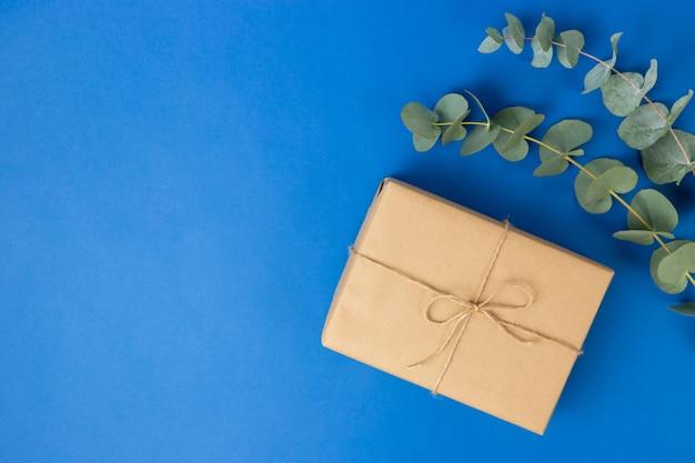 선물 상자 패키지와 파란색 배경에 유칼립투스 잎.