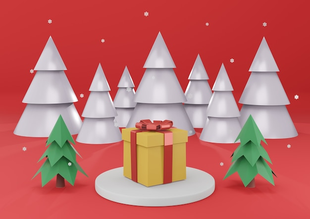 Present box on white cylinder podium in christmas background with snow flake, christmas tree 3d rendering