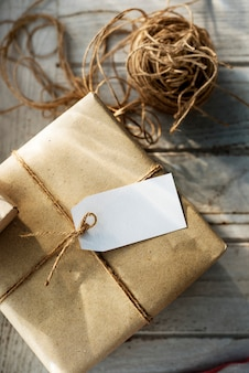 Present box with label tag
