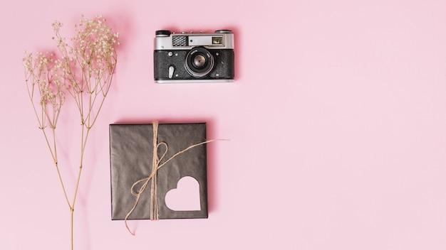Подарочная коробка с орнаментом в виде сердца, фотоаппаратом и веточкой
