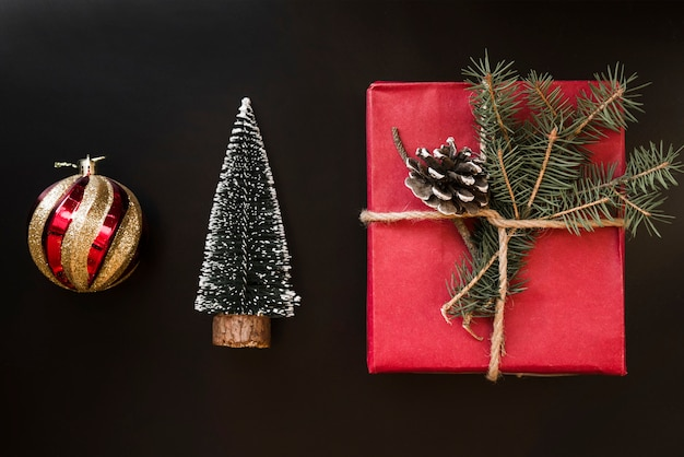 Present box with twig near decorative ball and fir tree