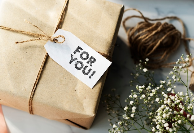 Present box with for you tag