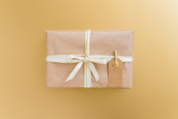 Present box in wrap with tag