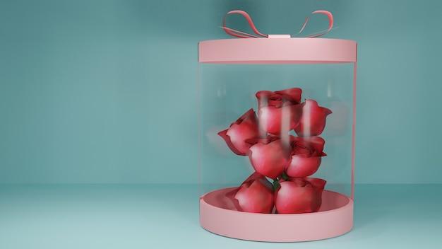 バラで包まれたプレゼントボックス