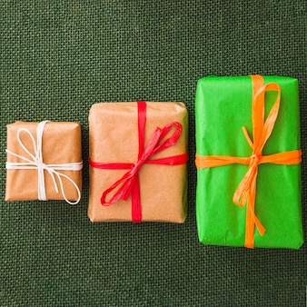 Present boxes in different sizes