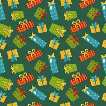 緑の背景にボックスをプレゼントシームレスパターン手描きギフトリピートプリントホリデーオーナメント