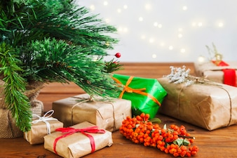 Present boxes under christmas tree
