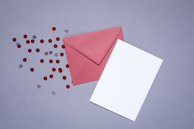 Present card and envelope burgundy color on gray