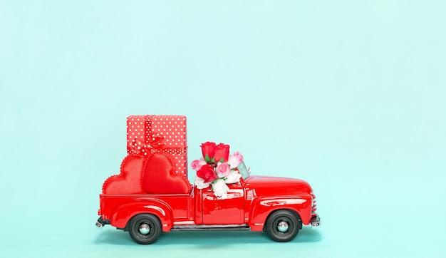 사랑하는 여자를 위한 선물 발렌타인 데이 귀여운 컨셉 빈티지 스타일 카드 복사 공간