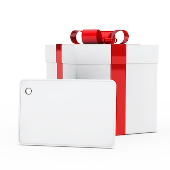 Present with red ribbon and a big tag