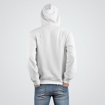 若い男の白いパーカーのモックアップのプレゼンテーションテンプレート、背面図。店のためのモダンなアパレルのデザイン。フード付き紳士服