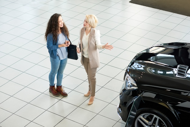 Presenting new car to customer