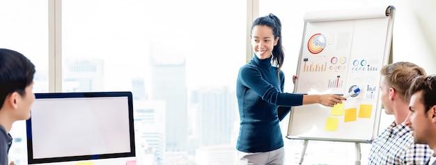自信を持って女性のオフィスの会議で財務チャートをpresenting