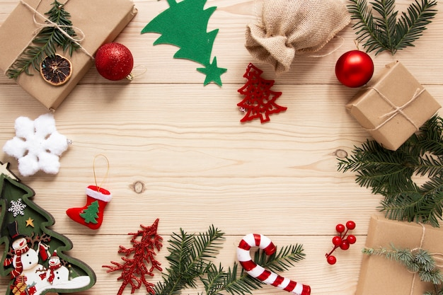 Presents and decorations with copy space