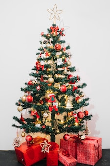 Presents in front of christmas tree