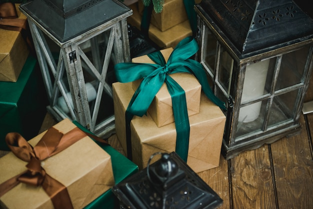 Presents and gifts under christmas tree