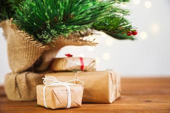 Presents under mistletoe