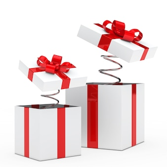 Presents with red ribbon and springs