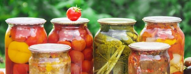 Preservation of vegetables. blanks. selective focus nature.