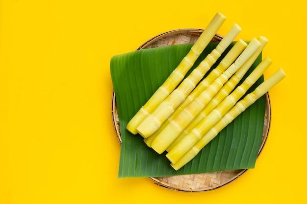 黄色の背景に竹かごに保存されたタケノコ。