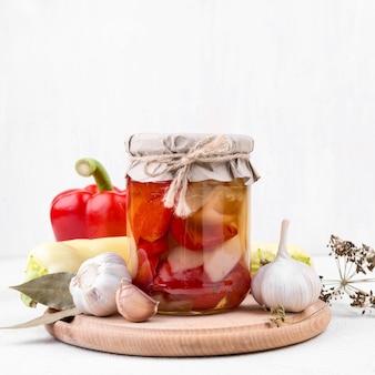 Preserved vegetables in transparent jar