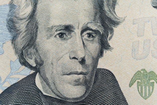 President andrew jackson's face appears on the $20 bill.