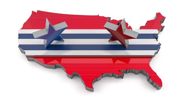 미국 대통령 선거. 3d 렌더링