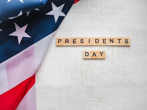 Presidents' day. beautiful greeting card. top view