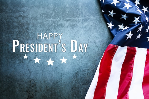 Presidents' day typography abstract table with american flag