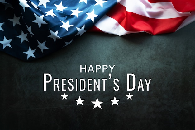 Presidents' day typography abstract table with american flag Premium Photo