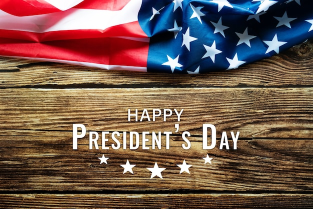 Presidents' day typography wooden table with american flag