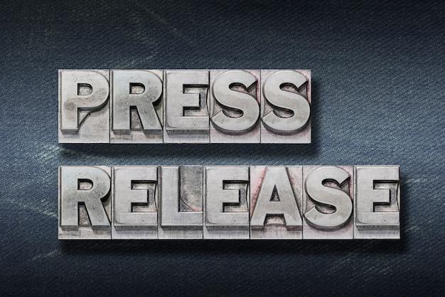 Press release phrase made from metallic letterpress