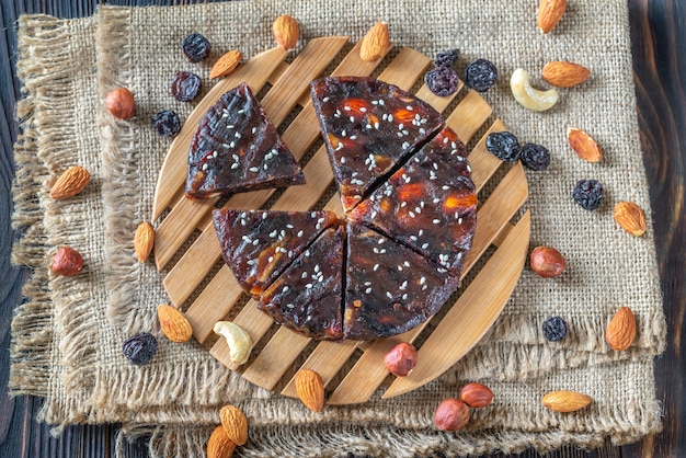 Pressed fruit and nut cake