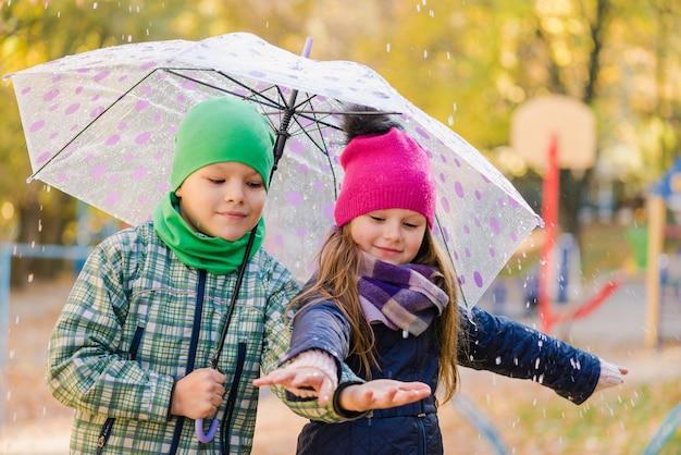 プレティーンの男の子と女の子が屋外の雨の公園を歩く