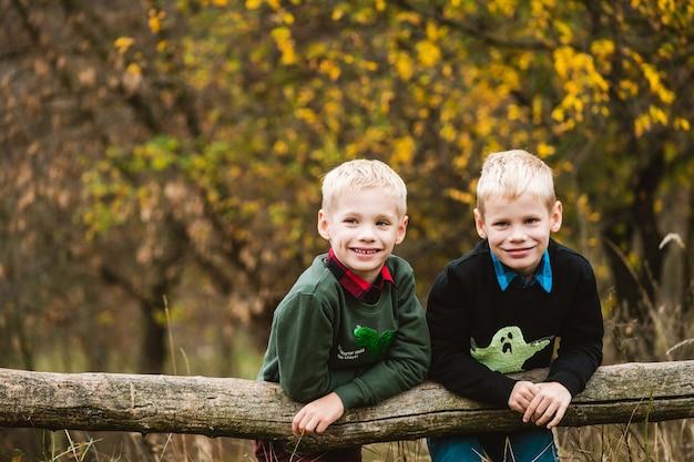 プレティーンの兄弟、美しい秋の森の背景でセーターでポーズをとる友人、アクティブな家族の週末