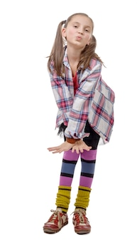 Preteen girl in hipster style