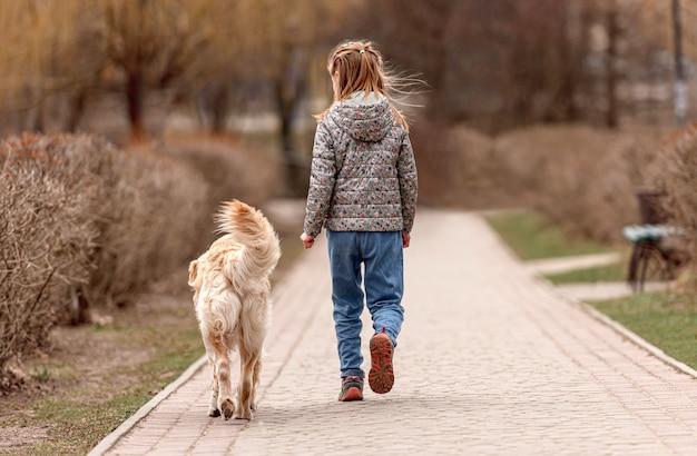 春の時間に広場でゴールデンレトリバー犬と一緒に歩くプレティーンの女の子