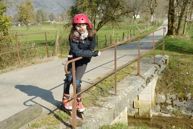 Preteen in roller skate