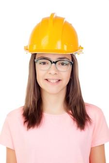Preteen with construction helmet